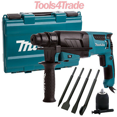 Makita HR2630 SDS+ 3 Mode Rotary Hammer Drill, Free Chisels & Keyless Chuck 240V
