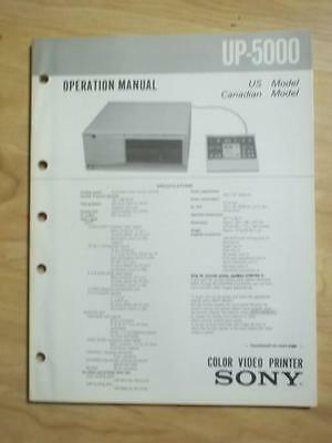 Sony Operation Manual for the UP-5000 Color Video Printer ~ Service