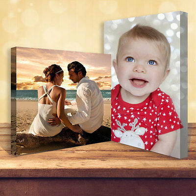 """Personalised Photo on Canvas Print 16"""" x 12"""" Framed A3 38mm DEEP Premium Frame"""