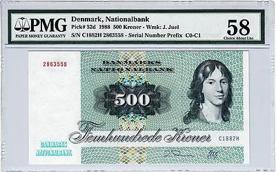 Denmark,nationalbank 500 Kroner 1988 Pmg 58 Choice About Unc P 52D