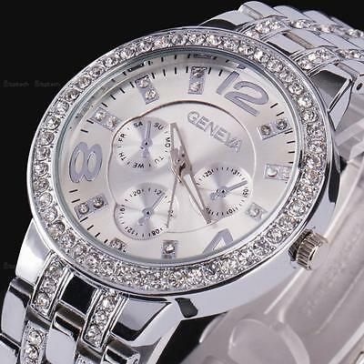 Geneva Women Lady Bling Crystal Silver Stainless Steel Analog Quartz Wrist Watch