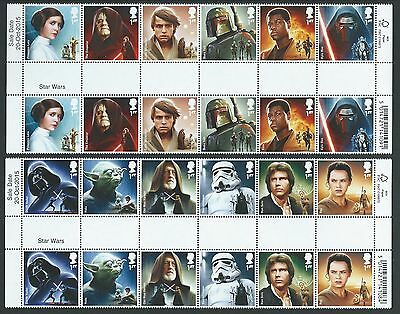 Great Britain 2015 Star Wars Set Of 12 In Gutter Pairs Unmounted Mint, Mnh