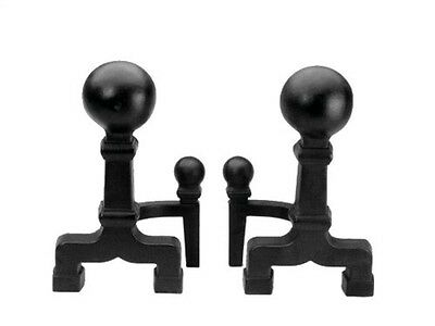 Achla 6in Dia. Black Ball Andirons Wrought Iron- X300020 Andirons NEW