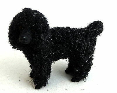 Dolls House Falcon Miniature 1:12 Pet Dog Standing Black Poodle with Hair