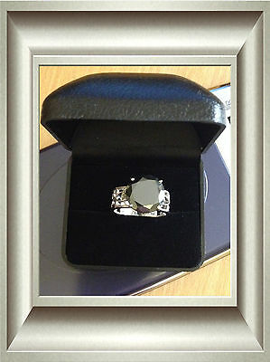 Unisex/ Men's 925 Sterling Silver 6.54 Ct Black Moissanite Round & Rough Diamond