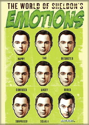 The Big Bang Theory The World of Sheldon's Emotions Magnet, NEW UNUSED