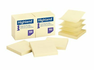 Highland Pop-up Notes, 3 x 3-Inches,Yellow, 12-Pads/Pack New