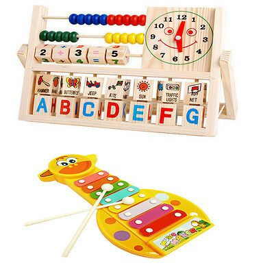 Children Wooden Toys Baby Kid Learning Developmental Toys Flap Abacus /Piano New