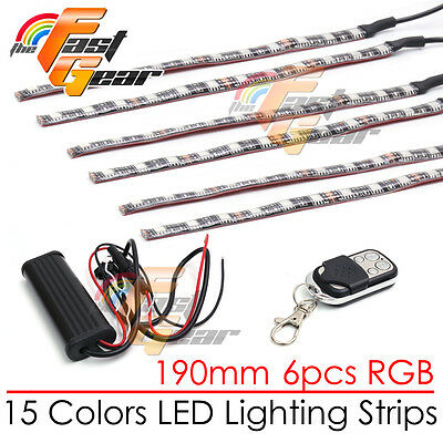 6 Pcs Cuttable 190mm RGB LED Color Light Strip Remote For Universal Buell