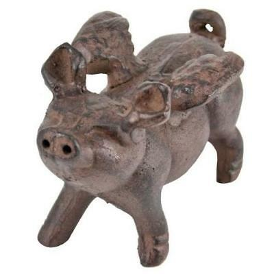 Whimsical Cast Iron Flying Pig Statue New