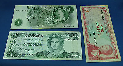 $1 East Caribbean $1 Bahamas one Pound Bank of England lot of 3 bank notes