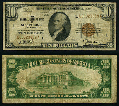 FR. 1860 L $10 FRBN327 Federal Reserve Bank Note San Francisco Better Very Good