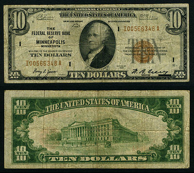 FR. 1860 I $10 1929 Federal Reserve Bank Note Minneapolis Very Good+