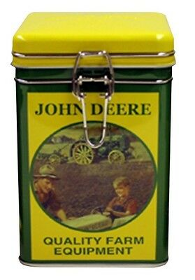 John Deere Square Lock Top Tin/Canister: Quality Farm Equipment