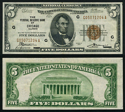 FR. 1850 G $5 1929 Federal Reserve Bank Note Chicago Very Fine+