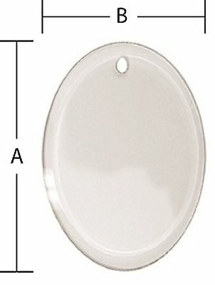 Stained Glass Supplies - 3 x 5 Inch Oval Beveled Glass Ornament Pre-Drilled