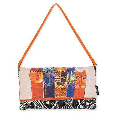 New LAUREL BURCH Flap Clutch Bag Shoulder Purse Handbag ORANGE CATS Kitten Cream