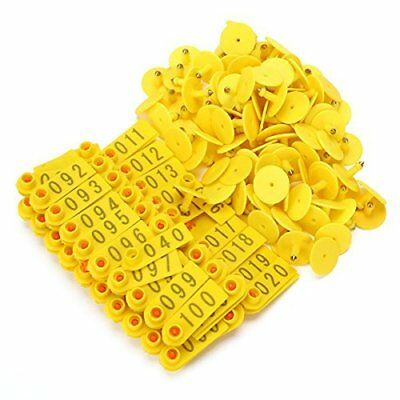 BQLZR Goat Sheep Pig 1-100 Number Plastic Livestock Ear Tag With Yellow Color
