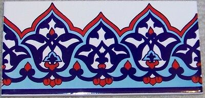 "CLEARANCE 50 Iznik Red & Blue Floral Pattern 4""x8"" Turkish Ceramic Tile Border"