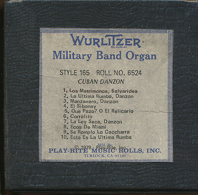 Wurlitzer Miitary Band Organ Roll, Style 165 -  No 6524 - SEE NOTES FOR DETAILS