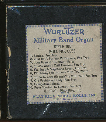 Wurlitzer Miitary Band Organ Roll, Style 165 -  No 6653 - SEE NOTES FOR DETAILS