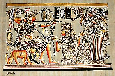 Egyptian Hand-painted Papyrus Artwork: King Tut & Wife Hunting Birds SIGNED