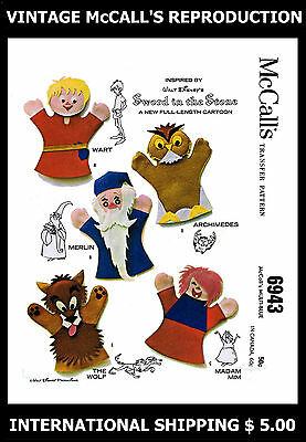 Vint 6943 McCALL'S 60s Sword in the Stone Felt Puppets Fabric Sew Pattern MERLIN