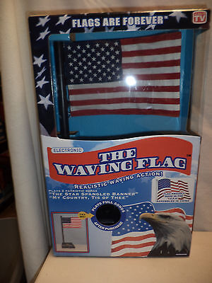 NEW-Electronic Waving Musical Desk Top USA Flag-Star Spangled Banner & My Countr