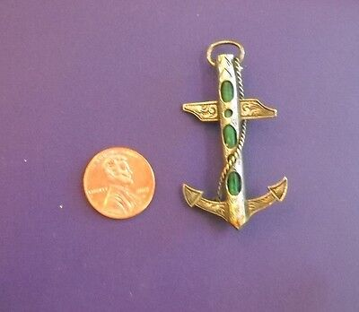 Fine Scottish Antique Sterling and Malachite Agate Anchor with Rope Brooch