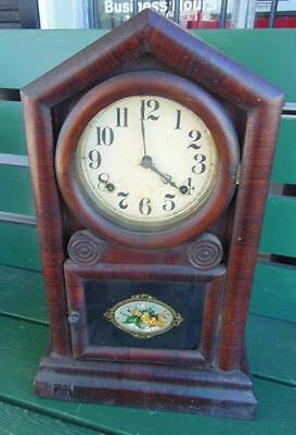 ANTIQUE 1880's EN WELCH TIGER OAK WOODEN ORNATE SHELF 8-DAY 30 HOUR MANTLE CLOCK