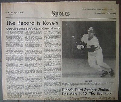 Pete Rose Record Breaking Hit - Sept. 12, 1985 Woonsocket, R.I. Sports Section