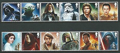 Great Britain 2015 Star Wars Set Of 12 In Strips Fine Used