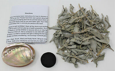Smudge Starter Kit: Small Abalone Shell, 1 oz Loose White Sage Smudge & Charcoal