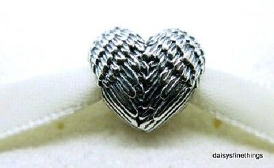 New/tags  Authentic Pandora Charm  Angelic Feathers Heart #791751    Retired
