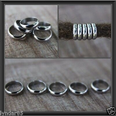 10 Stainless Steel Rings Dreadlock Beads 8mm Hole (5/16 Inch) Dread Hair Beads