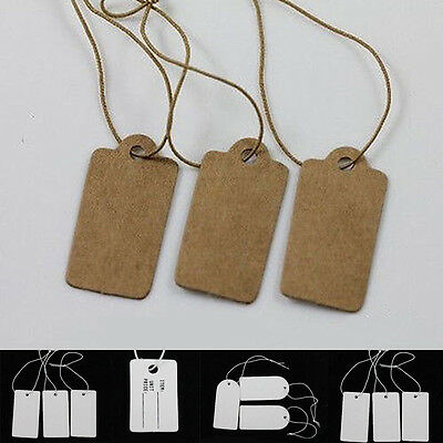 Pack of 100 X Retro Gift Tags Plain Blank Kraft White Scallop Label with+Strings