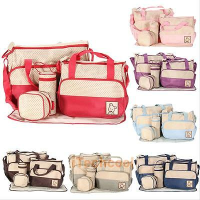 5pcs Baby Pad Diaper Nappy Changing Tote Handbag Mummy Mother Bag Multi Function
