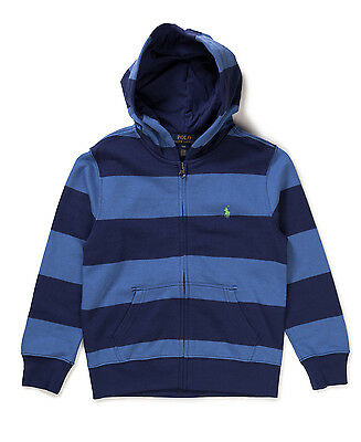 Ralph Lauren Boys Junior Kids Striped Long Sleeve Hoodie Hooded Top - Blue