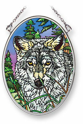 """Amia Stained Glass Suncatcher 3.25"""" X 4.5"""" Oval Cautious Apprension Wolf #42240"""