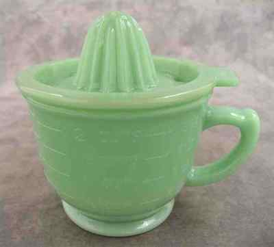 Jadeite Green Glass 2-Cup Measuring Mixing Cup & Juicer Juice Reamer Set