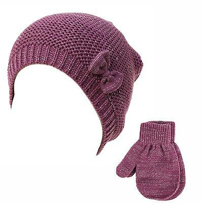 2pc Soft Baby Girls Kids Age 0-2 Knit Cute Bow Sparkle Beanie Hat Gloves Purple