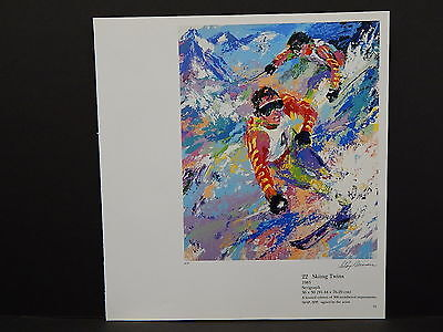 Leroy Neiman Double-Sided Book Plate S2#02 Skiing Twins