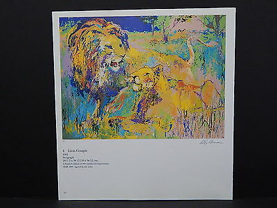 Leroy Neiman Double-Sided Book Plate S2#05 Lion Couple African Wildlife