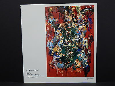 Leroy Neiman Double-Sided Book Plate S2#20 Gaming Table Roulet Wheel
