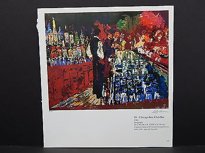 Leroy Neiman Double-Sided Book Plate S2#24 Chicago Key Club Bar Bartender