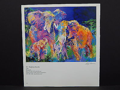 Leroy Neiman Double-Sided Book Plate S2#36 Elephant Family