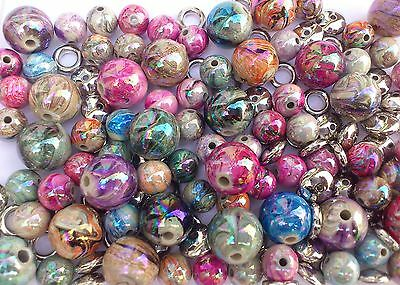70 x Pretty Pearly Swirl round Spacers 12mm,all colours & mix silver spacers  *