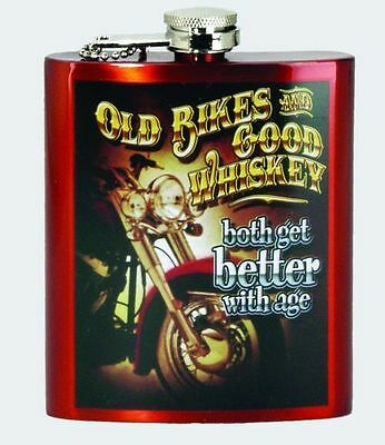 "Motorcycle ""OLD BIKES & GOOD WHISKEY"" Stainless Steel Hip Flask"