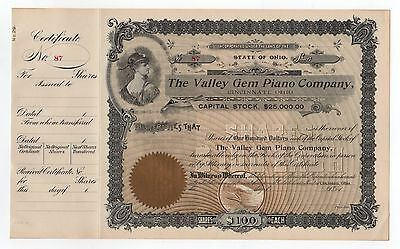 Valley Gem Piano Co. Stock Certificate