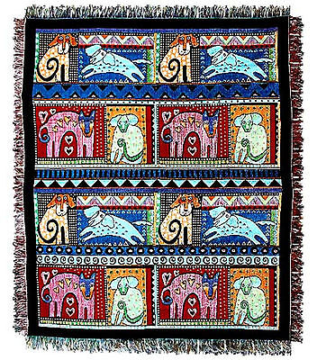 Laurel Burch Mythical Dogs Afghan Tapestry Throw Blanket  Dog
